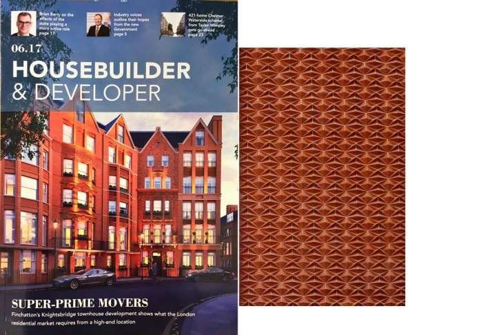 House Builder & Developer magazine front cover features Hans Place with Lambs bricks